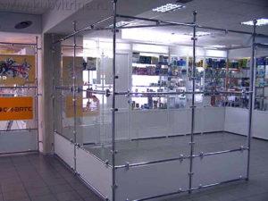 """Торговое оборудование Краснодар. Торговый павильон, выстроенный из труб системы """"Джокер"""" и стекла."""
