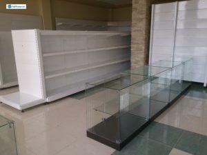 Торговое оборудование Краснодар. Обустройство магазина. Металлические стеллажи, стеклянные прилавки