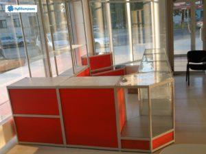 Торговое оборудование Краснодар. Торговый павильон, выстроенный из стандартных прилавков.