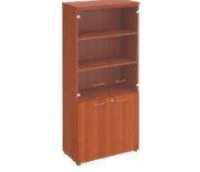 Шкаф для документов со стеклянными дверцами и открытыми полками. 90х46х197.