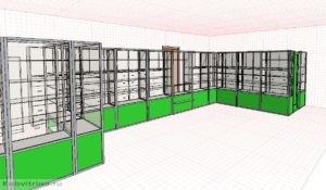1. Алюминиевые витрины для торгового зала