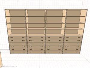 3.Шкафы комбинированные для хранения препаратов: с открытыми полками и выдвижными ящиками на замках.